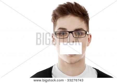 Young Man With Blank Bussinesscard