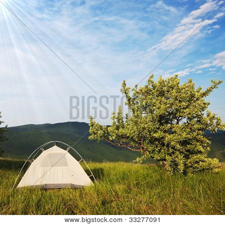 camping tent on sunny grassland