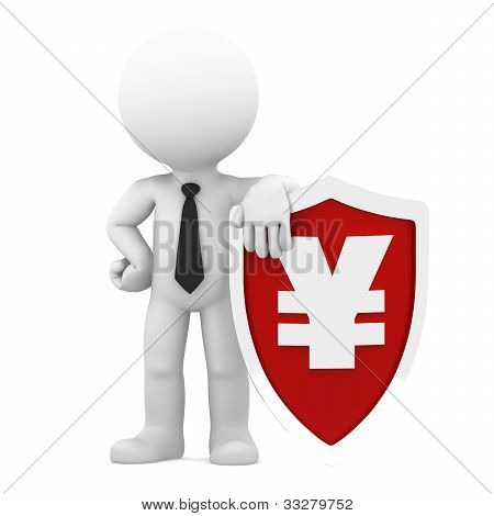 Businessman Holding Shield With A Yen Currency Symbol