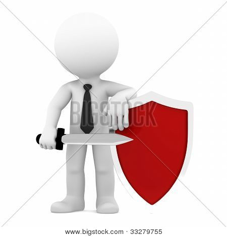 Businessman With Shield