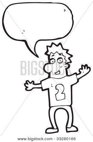 cartoon man in number 2 sports shirt