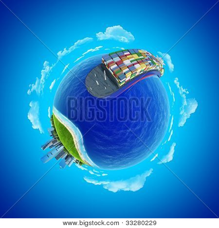 Mini planet concept. Impressive big cargo ship heading to the port rounding the globe. Transportation, expedition, shipment business concept. Earth collection.