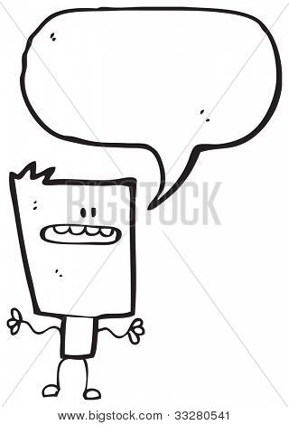 cartoon square head man
