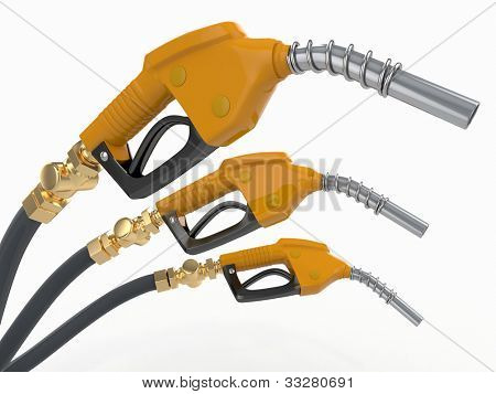 Gas pump nozzles on white isolated background. 3d