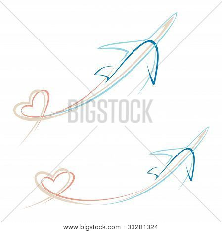 Plane With Heart Shape Trace