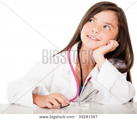 Mädchen denken, der Arzt über einen weißen Hintergrund isoliert