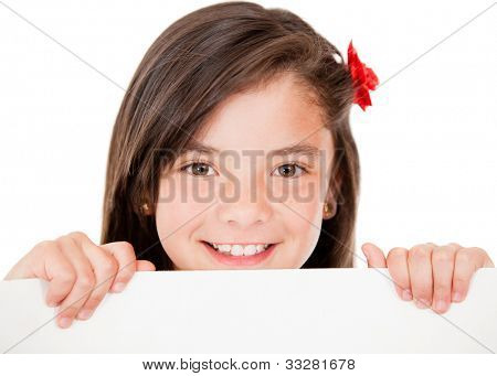 Girl holding a banner and smiling - isolated over a white background
