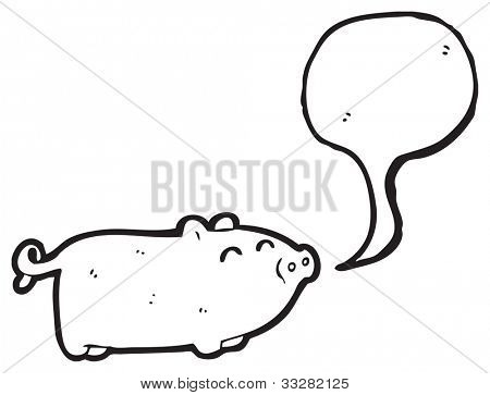 cartoon snorting pig