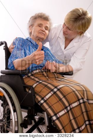 Elderly Woman In Wheelchair