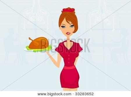 Beautiful Waitress serving a turkey