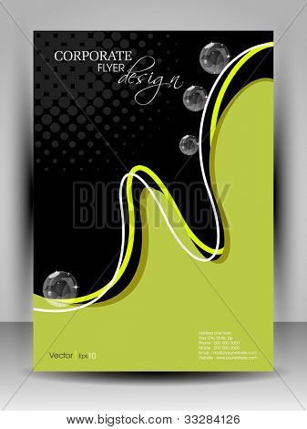 Professional business flyer template or corporate brochure design in green and black color with wave pattern for publishing, print and presentation. Vector illustration in EPS 10