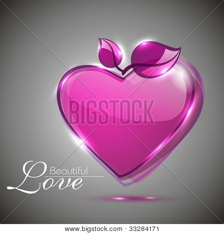 Glossy pink heart shape with leaves and transparency effect isolated on grey background, can be use as flyer, banner,sticker, tag, icon or love element . EPS 10. Vector illustration.