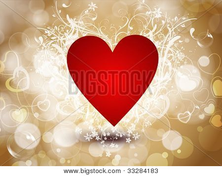 Sparkling red heart shape on abstract brown shiny background, can be use as flyer, banner, gift or greeting card. EPS 10. Vector illustration.