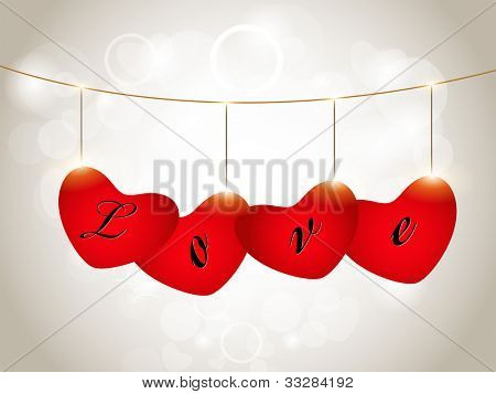 Sparkling red heart shapes hanging in a row having text LOVE  on grey seamless background, can be use as flyer, banner, gift or greeting card. EPS 10. Vector illustration.