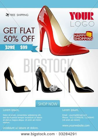 Professional product flyer or banner design of ladies shoe or other product with attractive discount offers for promotion, marketing can be use mailer and newsletter.EPS 10.Editable, space for text.