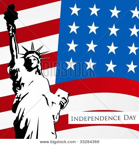 American flag and statue of liberty on dotted  background for 4th July American Independence Day and other events. EPS 10. Can be use as banner, poster and flyer.