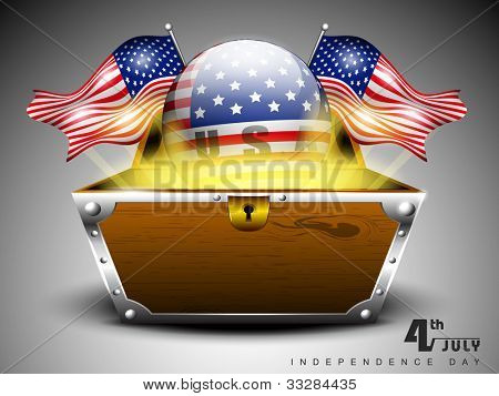 3D glossy globe with American flags and treasure chest on grey isolated background for 4 July American Independence Day and other occasions.. EPS 10.