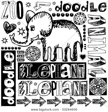 zoo doodles isolated on white background