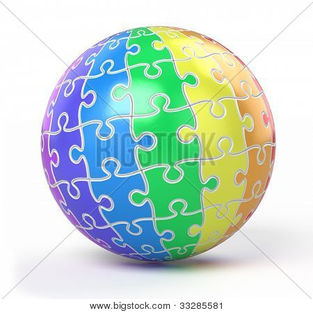 sphere collected from colorful puzzle