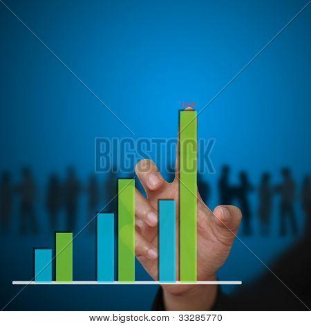 business woman hand touch Bar graph Diagram