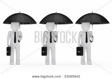 Businessmen Hold Black Umbrella