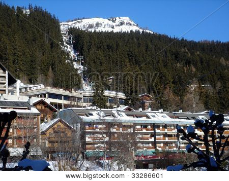Swiss ski chalets in resort of Crans Montana in Switzerland