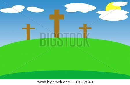 Crucifixion crosses on hill of Golgotha with sun shining behind clouds, Cavalry, Holy Land.