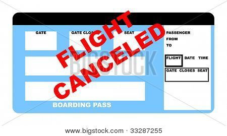 Illustration of blank canceled airline boarding pass ticket, isolated on white background.