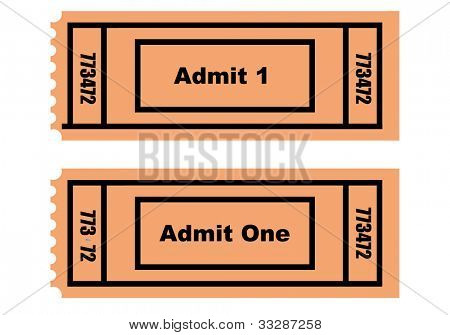 Illustration of two tickets, front and back, isolated on white background.