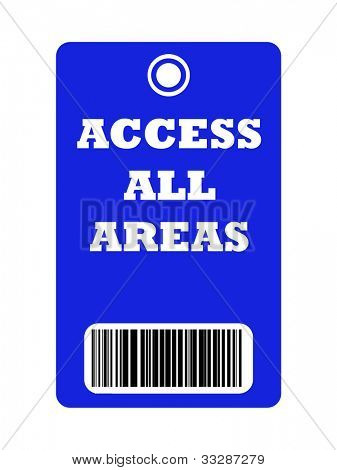 Access all areas blue pass with bar code, isolated on white background.