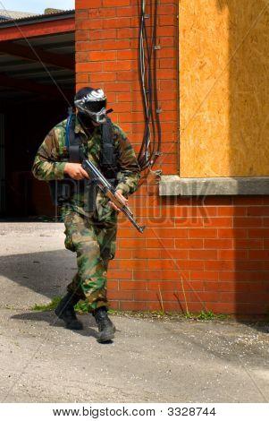 Man In British Dpm Camouflage With Gun Ak47