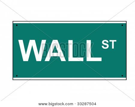 Wall Street road sign, isolated on white background, New York, U.S.A.