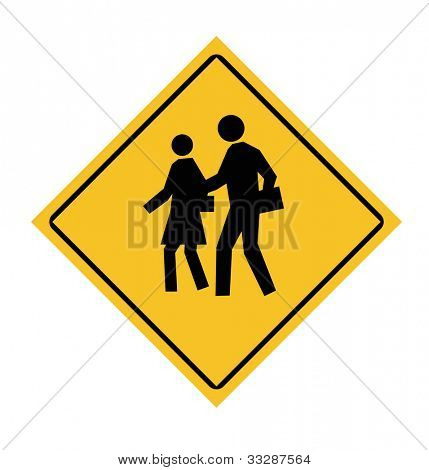 People crossing road sign, isolated on white background.