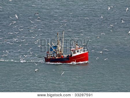 Flock of seagulls surrounding fishing trawler boat in ocean.