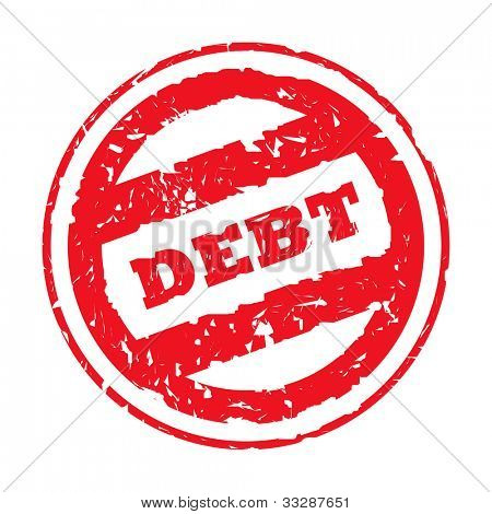 Red used debt stamp, isolated on white background.