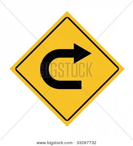 Yellow diamond u-turn roadsign, isolated on white background.