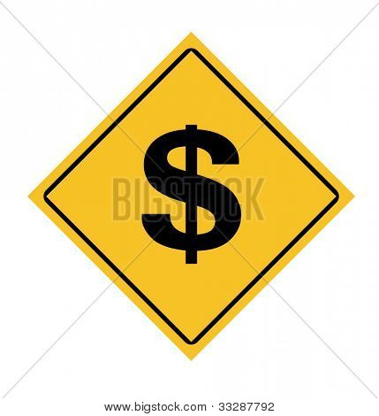 America dollar currency road sign isolated on white background.
