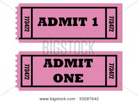 Illustration of two cinema or movie tickets saying admit one, isolated on white background.