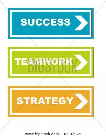 Success, teamwork and strategy business signs, isolated on white background.