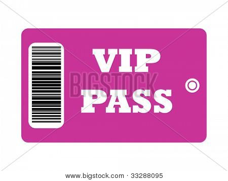 VIP Pass with bar code isolated on white background.