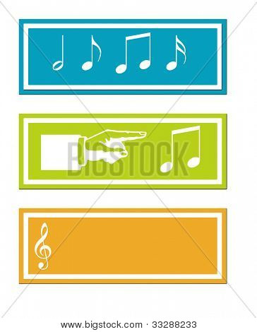 Set of three colorful musical signs isolated on white background.