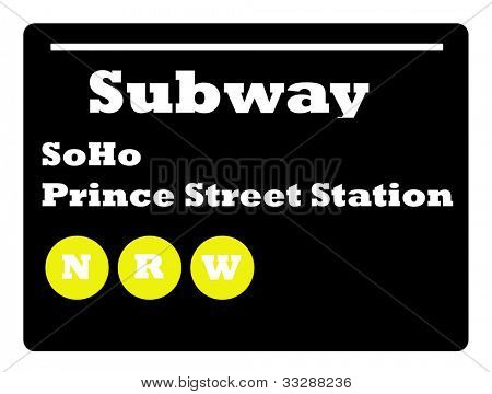 Soho Prince Street station subway sign isolated on white background, New York City, U.S.A.