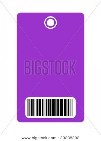 Closeup of blank security pass with bar code, isolated on white background.