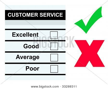 Blank customer service form or questionnaire with empty boxes, check mark and cross, isolated on white background.