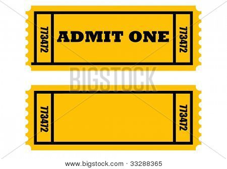 Illustration of two cinema or movie tickets, front and back, isolated on white background.