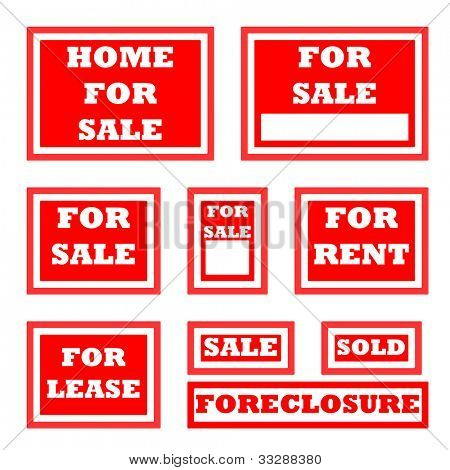 Set of real estate for sale signs with copy space.
