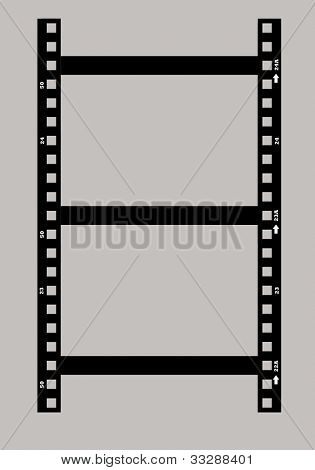Black and white photographic film negative isolated on white background.