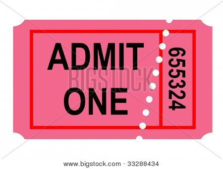 Illustration of admit one perforated ticket, isolated on white background.