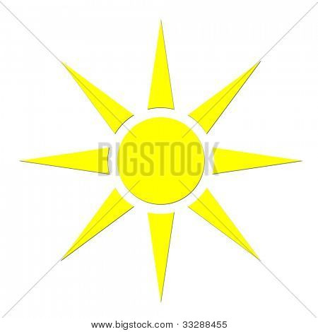 Closeup of yellow sunshine symbol or sign isolated on white background.