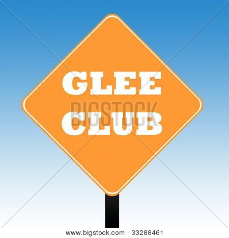 Glee Club road sign with a blue sky background.